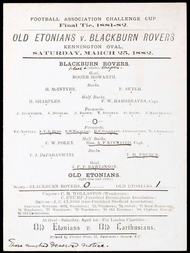 Old Etonians vs Blackburn Rovers programme 1882