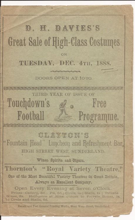 Football programme in 1888